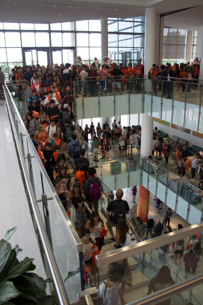 Due to inclement weather, the Nebraska Pep Rally was moved into the Shalala Student Center Thursday. Students formed lines up the stairs to get free t-shirts for the upcoming football game. Kawan Amelung // Contributing Photographer