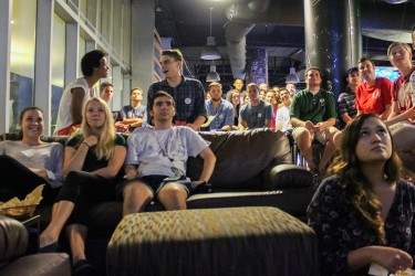Memebers of UM's College Republicans watch at the Rathskeller as the second GOP debate begins Wednesday evening. Hallee Meltzer // Photo Editor