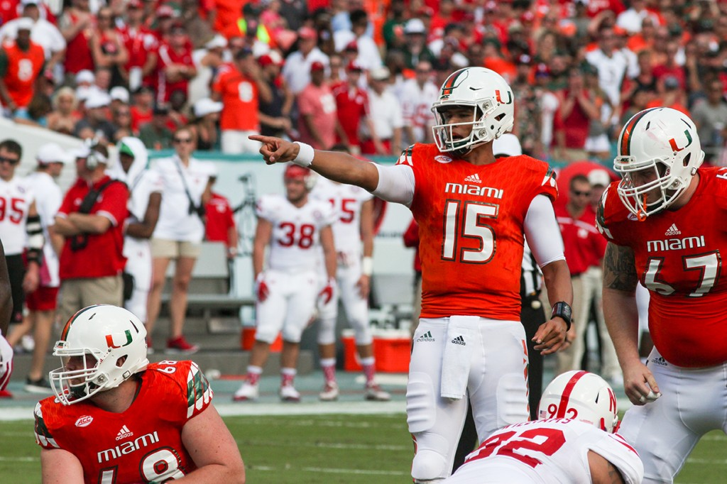 Quarter Back Brad Kaaya (15) sets up the offense while the Canes march down the field against Nebraska. Joshua Gruber // Contributing Photographer
