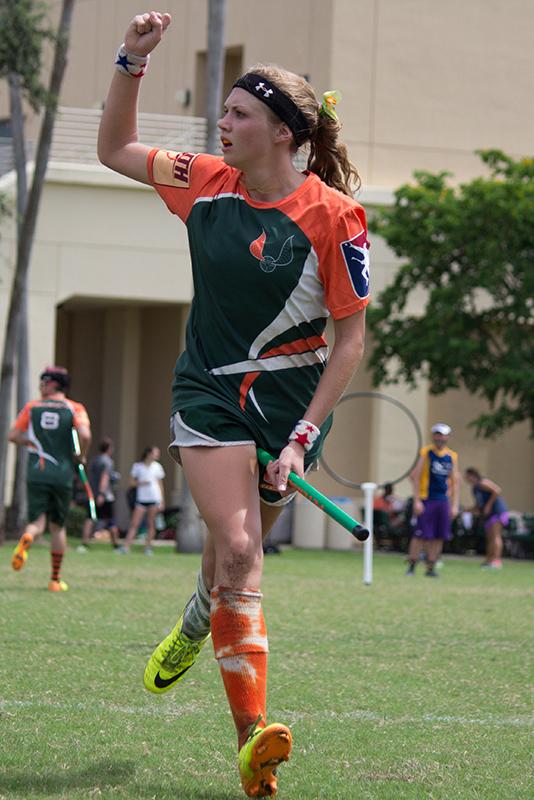Senior and team captain Shannon Moorhead attempts to retrieve a bludger during Saturday's Quidditch Tournament. Kawan Amelung // Staff Photographer