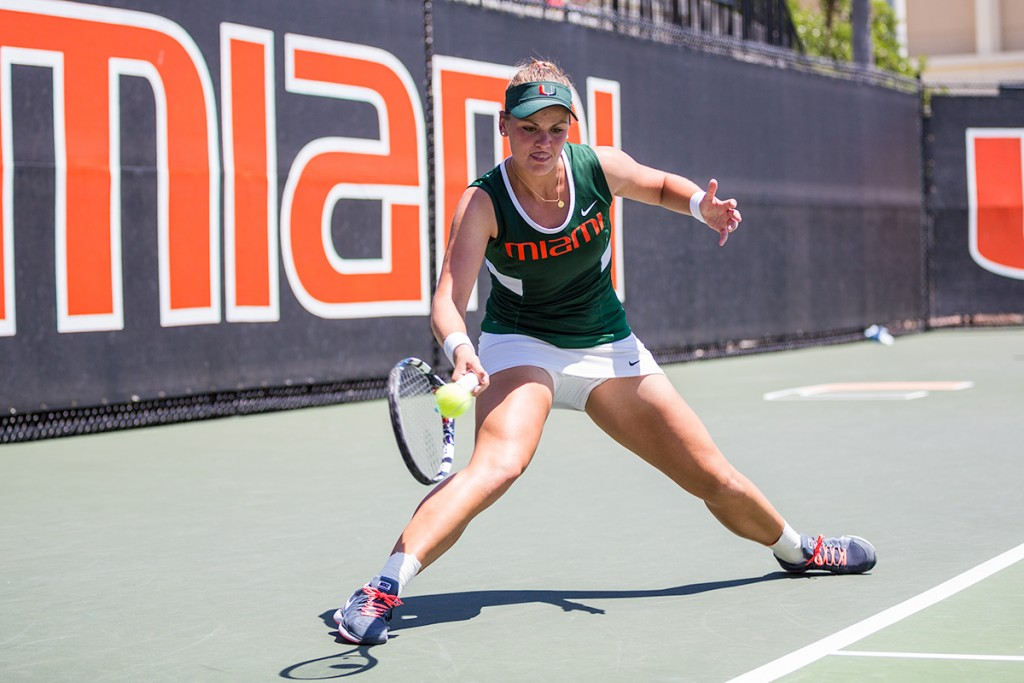 Senior Stephanie Wagner plays a singles game against North Carolina's Jamie Loeb during last year's season. Wagner will return to the court for this weekend's Fall Invitational. Nick Gangemi // Editor in Chief