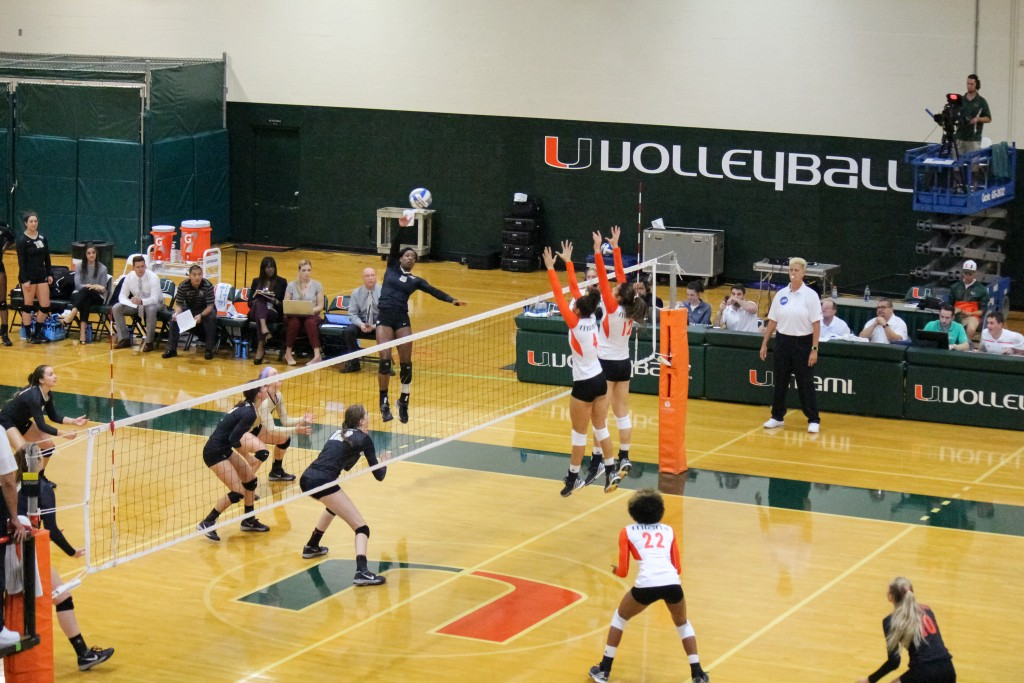 The Canes won Friday's match against UCF in 4 sets. Alexis McDonald // Contributing Photographer