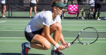 Senior Stephanie Wagner prepares for a serve during a women's tennis match last year against FSU. Wagner currently stands as the top player in the Women's team at UM and is ranked the No. 6 player in the country.  Giancarlo Falconi // Assistant Photo Editor