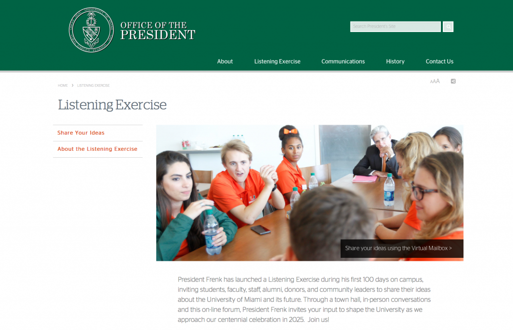 "President Frenk's ""Listening"" website seeks suggestions, concerns"