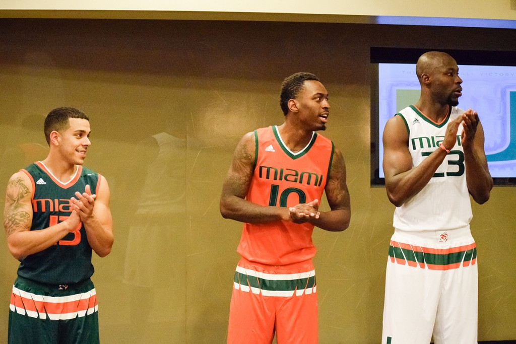 The University of Miami basketball program unveiled its new Adidas basketball uniforms in front of Hurricane Club donors at the Canes Basketball Tip-Off Social at the BankUnited Center Thursday night. Evelyn Choi // Contributing Photographer