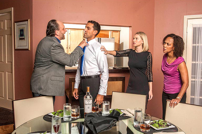 Disgraced, playing at GableStage through November 1, features actors (left to right) Gregg Weiner, Armando Acevedo, Betsy Graver, and Karen Stephens. Photo Courtesy George Schiavone/GableStage