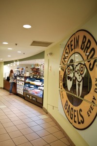 Einstein Brothers Bagels, located near the Law School,  offers toasted bagels, sandwiches, flatbreads and coffee to students all day. Evelyn Choi // Contributing Photographer