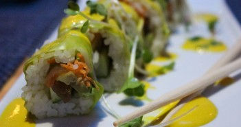"""""""The Veggie Head Roll"""" combines assorted vegetables, aji amarillo sauce, micro greens, and soy wrapper to create a flavorful twist on a classic vegetarian sushi roll. Hallee Meltzer // Photo Editor"""