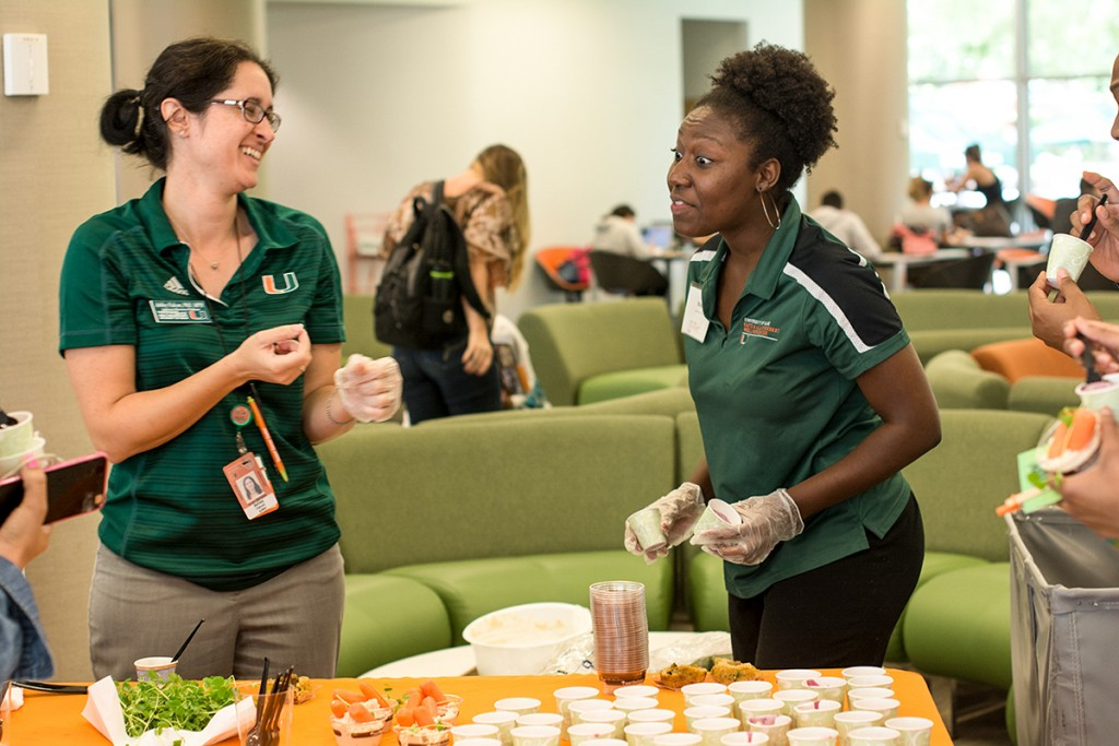 On Thursday, Green Club, Butler Center and University of Miami Civic Community and Engagement came together to host Fair Food Fair. Students had the opportunity to learn and sample healthy food and smoothies. Alisha Kabir // Staff Photographer