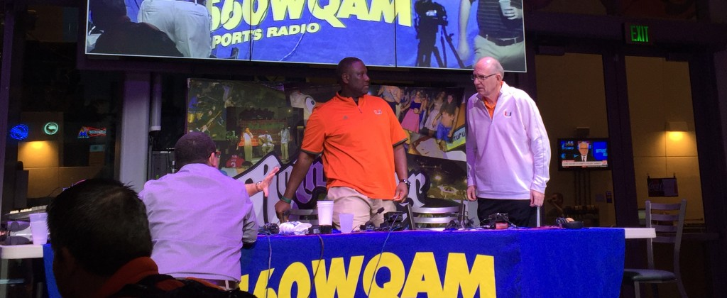 Interim Head Coach Larry Scott and men's basketball Head Coach Jim Larrañaga greet each other during Scott's radio interview with 560 WQAM. Mark Singer // Sports Editor