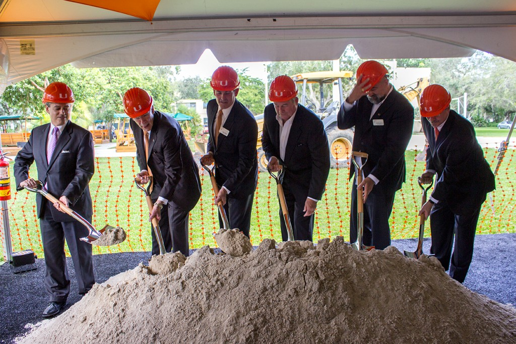 Sergio Gonzalez (Senior Vice President for University Advancement and External Affairs), Dr. Julio Frenk (University President), Stuart Miller (Chairman of the Board of Trustees), Tom Murphy Jr. (President and CEO of Coastal Construction), Rodolphe el-Khoury (School of Architecture Dean), and Thomas LeBlanc (Executive Vice President and Provost) break ground Wednesday afternoon for the construction of the Thomas P. Murphy Design Studio Building. This building was donated by Coastal Construction, a major South Florida builder, and will be LEED-certified and feature studios to accomodate more than 120 students once completed. Giancarlo Falconi // Assistant Photo Editor.