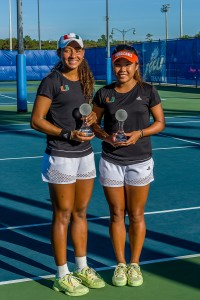Yolimar Ogando (left) and Wendy Zhang (right) won the Doubles A Draw at the Bedford Cup held Saturday at the FGCU Tennis Complex. Ogando went on to win the Singles A Draw Sunday. Photo Courtesy Linwood Ferguson