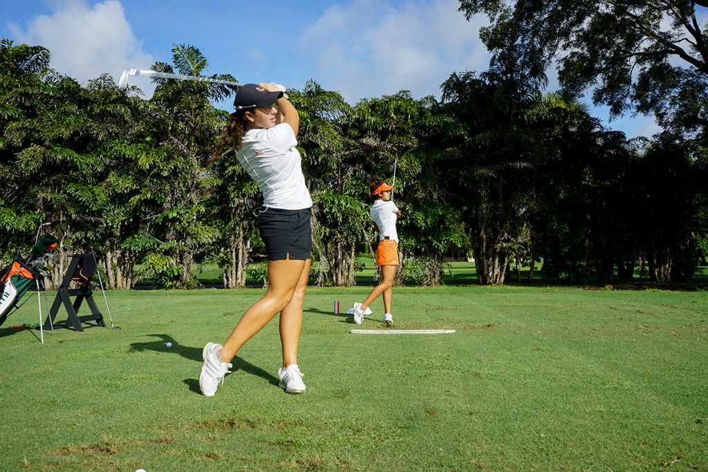 Junior Daniela Darquea practices for the Betsey Rawls Invitational at the University of Texas, which took place on Monday and Tuesday. Darquea tied for sixth in the tournament. Photo Courtesy HurricaneSports.com
