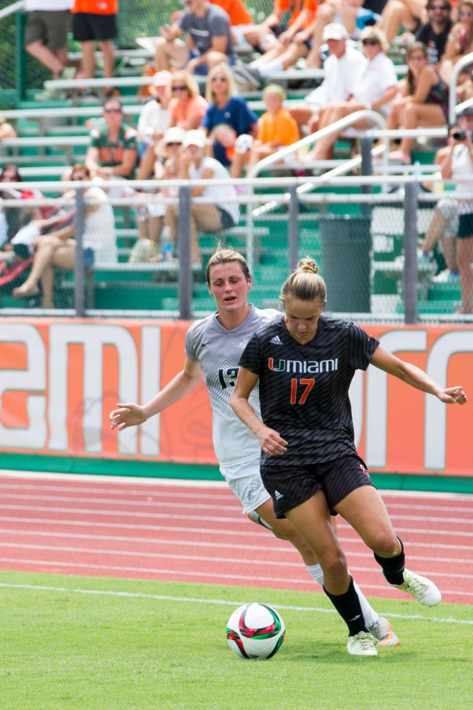 Gracie Lachowecki (17), seen here at the home game against North Florida in September, scored four goals in Miami's 5-4 overtime loss to Boston College in Massachusetts on Sunday. Matthew Trabold // Staff Photographer
