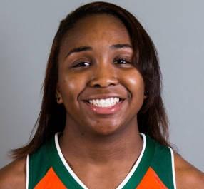 Junior basketball player Jessica Thomas controls Canes' offense