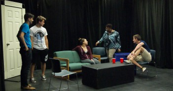 Professor cfrancis blackchild teaches Theater in Action Devising Ensemble to students (left to right) Joey Casseb, Blake Hawthorne, Gabriella Mancuso and  Thomas Jansen. blackchild also uses interactive theater to explore themes of sexual assult. Emily Dabau // Edge Editor