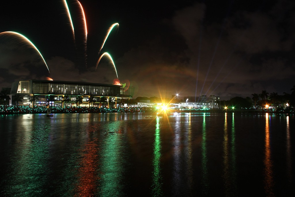 Fireworks are set off from the roof of the Shalala Student Activities Center during the Homecoming festivities. Kawan Amelung // Staff Photographer