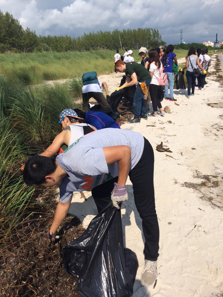 At one site of Saturday's Hurricanes Help the Hometown, participants remove debris and pollution from Virigina Key Beach. Photo Courtesy Rick Lin