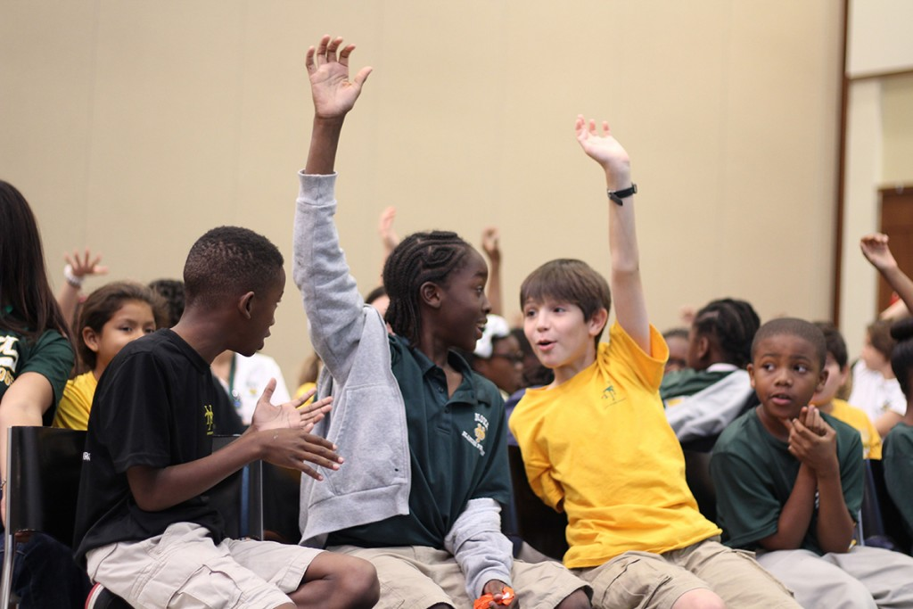 Fifth graders from Broward County participate in a field trip to UM to learn about robotics and engineering Thursday. Kawan Amelung // Staff Photographer