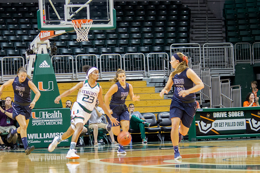 UM Women's Basketball takes on Nova Southeastern University at the Bank United Center Wednesday afternoon. The Canes won 83-53. Giancarlo Falconi // Assistant Photo Editor