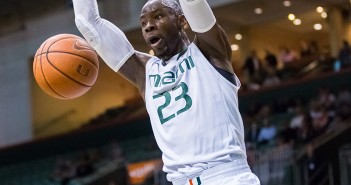 Senior Tonye Jekiri (23) makes a slam dunk during last year's 76-52 win over Virginia Tech at the BankUnited Center. File Photo // The Miami Hurricane