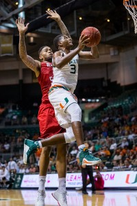 Freshman forward Anthony Lawrence, Jr. goes up for a shot during Monday night's game at the BankUnited Center. The Canes kicked off the season with a 93-77 over the Ragin' Cajuns. Nick Gangemi // Editor-in-Chief