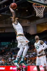 Junior guard Davon Reed makes an uncontested dunk. Reed helped propel Miami to a with with 19 points. Nick Gangemi // Editor-in-Chief