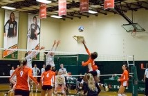 Senior outside hitter Taylor Scott (22) reaches for the ball during Sunday's 3-1 win over Notre Dame. The Canes bounced back after a 3-1 loss to Louisville on Friday. Evelyn Choi // Staff Photographer