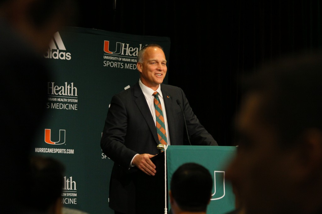 Mark Richt accepts the position as new head coach of UM Football in a press conference held Friday morning. Erum Kidwai // Staff Photographer