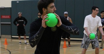 Alumni Andrew Smith prepares to throw the ball during Delta Epsilon Psi fraternity's Dodging Diabetes event Saturday at the Wellness Center. This multicultural fraternity hosts a campus-wide dodgeball tournament every year to spread awareness about Type 1 Diabetes and raise money for the Juvenile Diabetes Research Foundation.