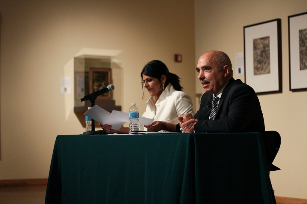 2015 Nobel Peace Prize winner Abdessattar Ben Moussa presents at the Lowe Art Museum on how the Tunisian National Dialogue Quartet sought out democracy during Tunisia's Jasmine revolution. Kawan Amelung // Staff Photographer