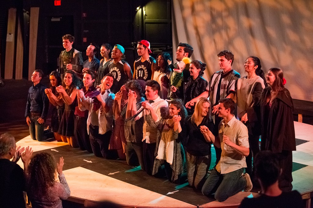 The entire cast and crew for The 24 Hour Plays take a final bow at the end of Saturday's show. Nick Gangemi // Editor-in-Chief