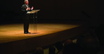 Presidential Historian Jon Meacham speaks at Gusman Concert Hall Tuesday evening regarding how past political leadership influences current governmental decision-making. Pulling from his extensive knowledge of presidential history, Meacham aimed to connect to UM students, many of whom are first time voters. Kawan Amelung // Staff Photogapher