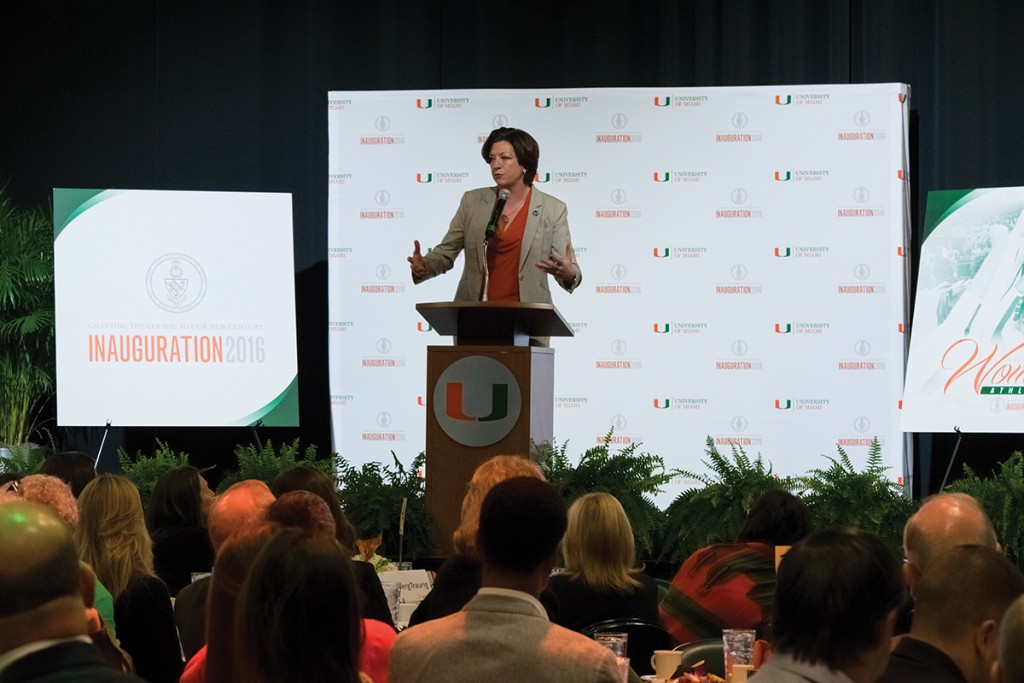 Women's basketball Head Coach Katie Meier discusses how athletics helps build confidence in female student athletes during the Celebration of Women's Athletics brunch Sunday in the BankUnited Center. Evelyn Choi // Staff Photographer