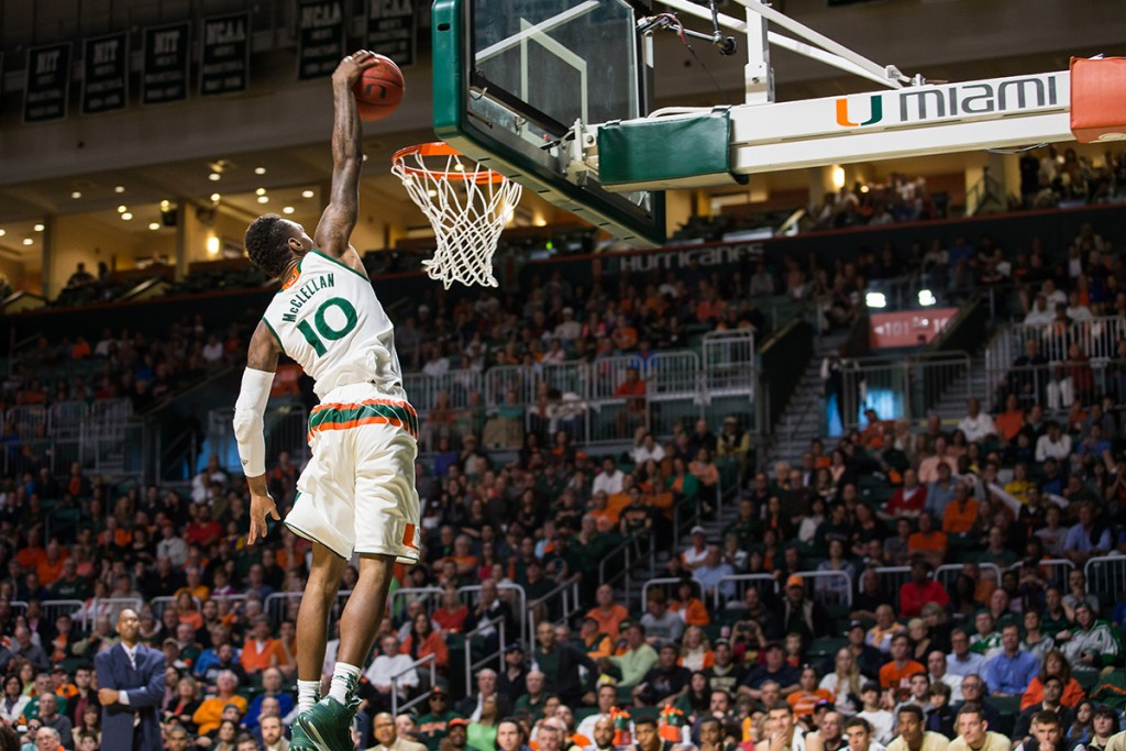 Redshirt senior guard Sheldon McClellan goes up for a dunk in the first half of Saturday's game against Wake Forest at the BankUnited Center. The Canes won 77-63 and face Duke Monday evening. Matthew Trabold // Contributing Photographer