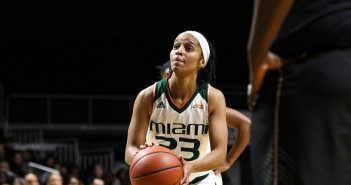 Junior guard Adrienne Motley takes a free throw during Miami's 69-58 loss to FSU Sunday afternoon at the BankUnited Center. Motley scored a game high 20 points in the loss. Erum Kidwai // Assistant Photo Editor