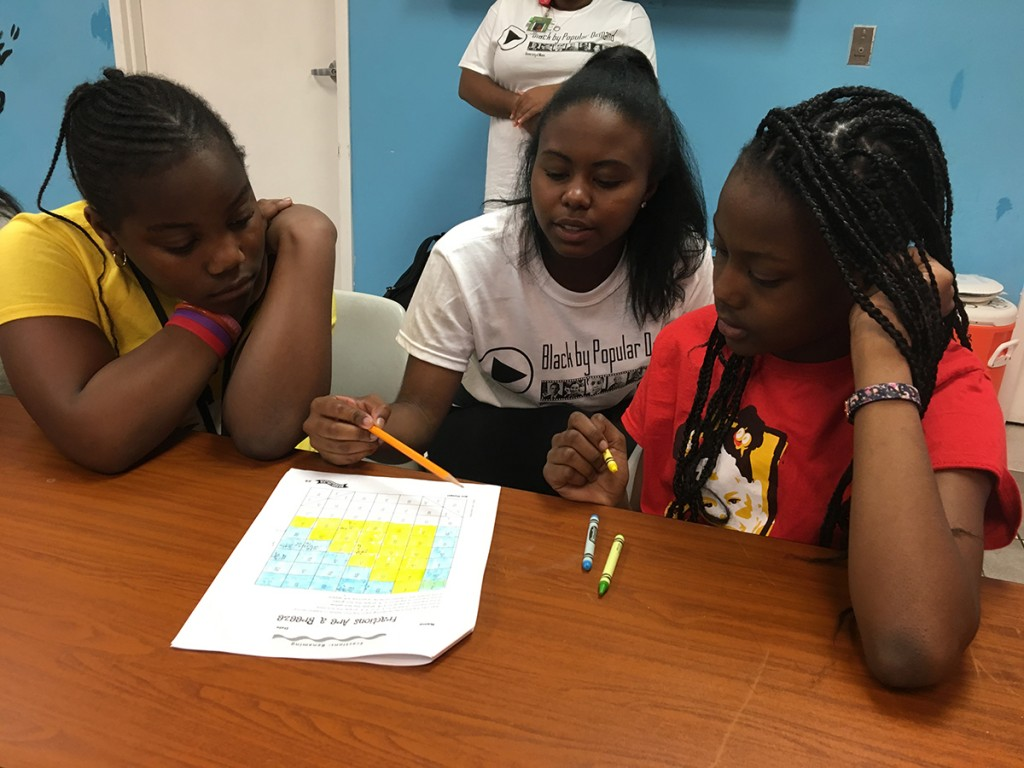 During Saturday's Black Awareness Month Day of Service, freshman Kyra Freeman works with students at the Overtown Youth Center. Amanda Herrera // Contributing Photographer