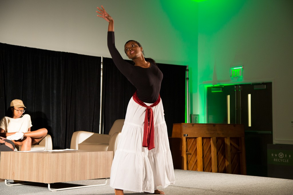 Freshman Valerie Francillon performs during the House of Black Culture event Thursday evening in the Activities Room of the Shalala Student Center. Evelyn Choi // Staff Photographer