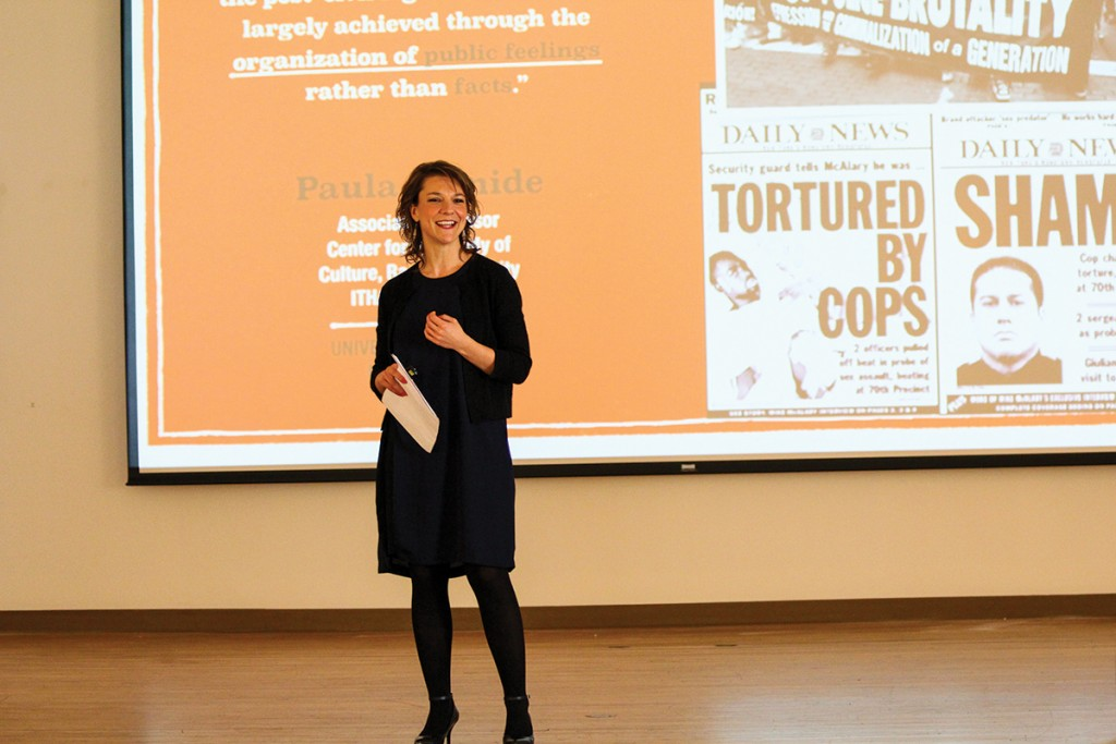 Guest lecturer Dr. Paula Ioanide, from Ithaca College, speaks during the Know Justice Know Peace 2 event Wednesday afternoon in the CAS Gallery as part of Black Awareness Month. Erum Kidwai // Staff Photographer