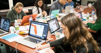 Students design advertisements and marketing strategies for non-profit organizations during PhilADthropy in the School of Communication Friday night. Evelyn Choi // Staff Photographer