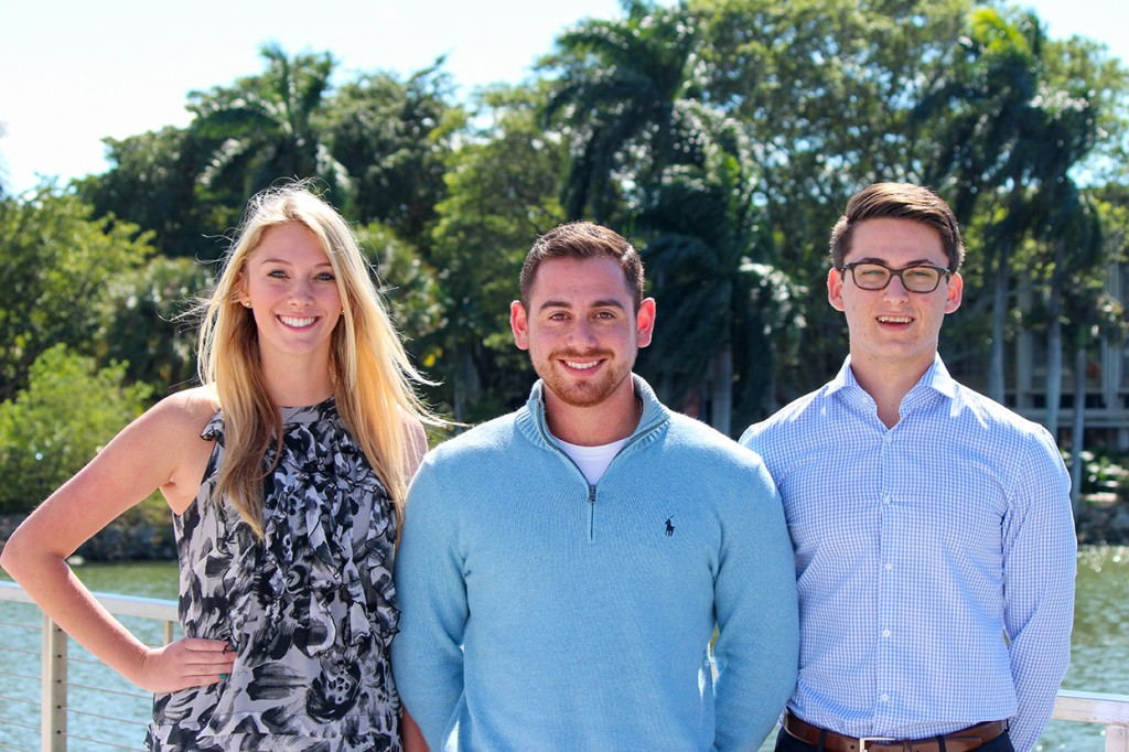 "Under ""One Team One U"", junior Emmy Savidge, junior Jason Goldenberg, and sophomore Andrew Weinstock are running for vice president, president, and treasurer. Hallee Meltzer // Photo Editor"