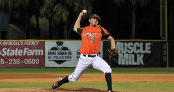 Sophomore right handed pitcher Jesse Lepore (55) throws a 4-seam fastball during the Hurricanes' win against St. Thomas Wednesday night at Alex Rodriguez Park at Mark Light Field. Victoria McKaba // Assistant Photo Editor
