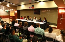 A panel, composed of Shadé Olasimbo, Alicia Jessop, Karai Lockley, Kysha Harriell, Jennifer Strawley, Shirelle Jackson, and Christy Chirinos, features women with careers in sports Monday at the Fieldhouse of the BankUnited Center. Hosted by Hurricane Athletics, the women described their experiences in the industry, highlighting their achievements and struggles with issues such as wage discrimination in a male-dominated profession. The speakers, collectively, had experience in the fields of journalism, management, academics and more. They stressed the topic of networking and social media being both harmful and helpful when looking for a career in athletics. Erum Kidwai // Assistant Photo Editor