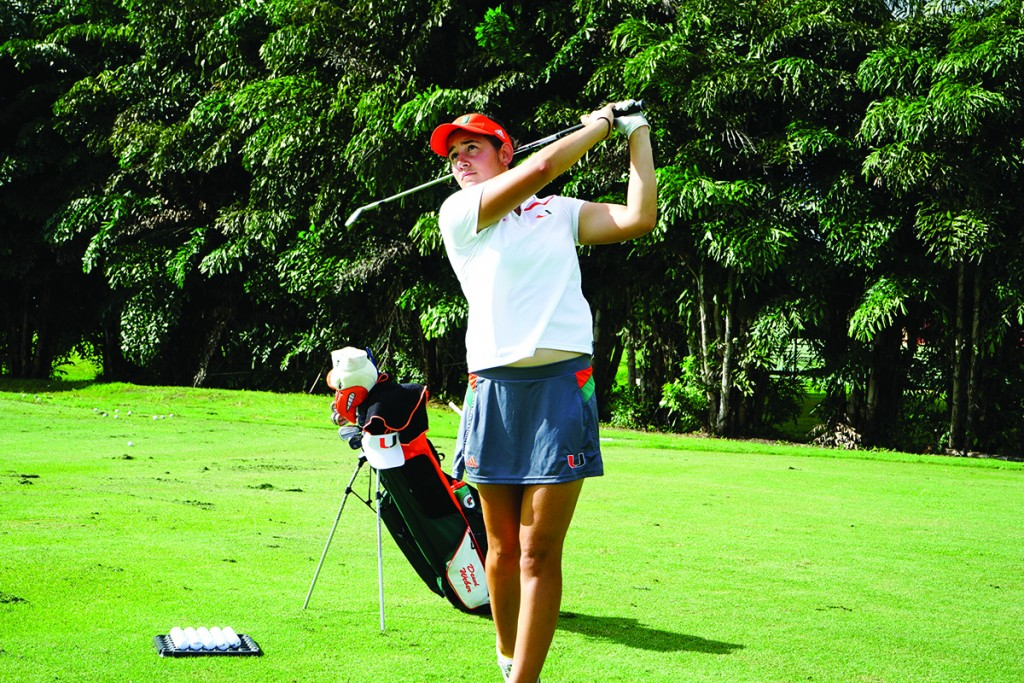 Freshman Dewi Weber practices her swing at the Biltmore Golf Club. Weber finished a season-best 5th in the UCF Challenge in Orlando this past Tuesday. Photo Courtesy Thomas Symonds