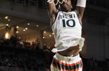Redshirt senior guard Sheldon McClellan (10) dunks during men's basketball's win over Duke during their January matchup at the BankUnited Center. The Hurricanes won against Georgia Tech 75-68 Sunday afternoon. Victoria McKaba // Assistant Photo Editor