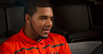 Freshman Patrick Bethel signs onto the Hurricanes' Football team as a defensive end, adding to the 2016 singing class introduced Wednesday at the Schwartz Center. Kawan Amelung // Staff Photographer