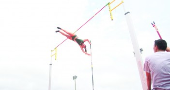 Senior Alysha Newman set a school record in the women's pole vault at 4.50m during the Armory Track Invitational in New York. She is pictured here at the 2014 Miami Invitational track meet. File photo