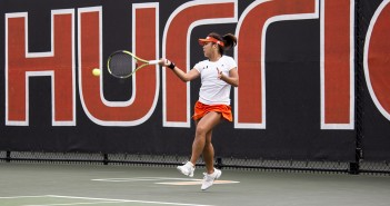 Sophomore Wendy Zhang hits a forearm shot during the Hurricanes' January matchup against Georgia Tech. Zhang had a match point to beat Texas Tech, but ultimately lost the match in three sets during the ITA National Team Indoor Championship. Giancarlo Falconi // Staff Photographer