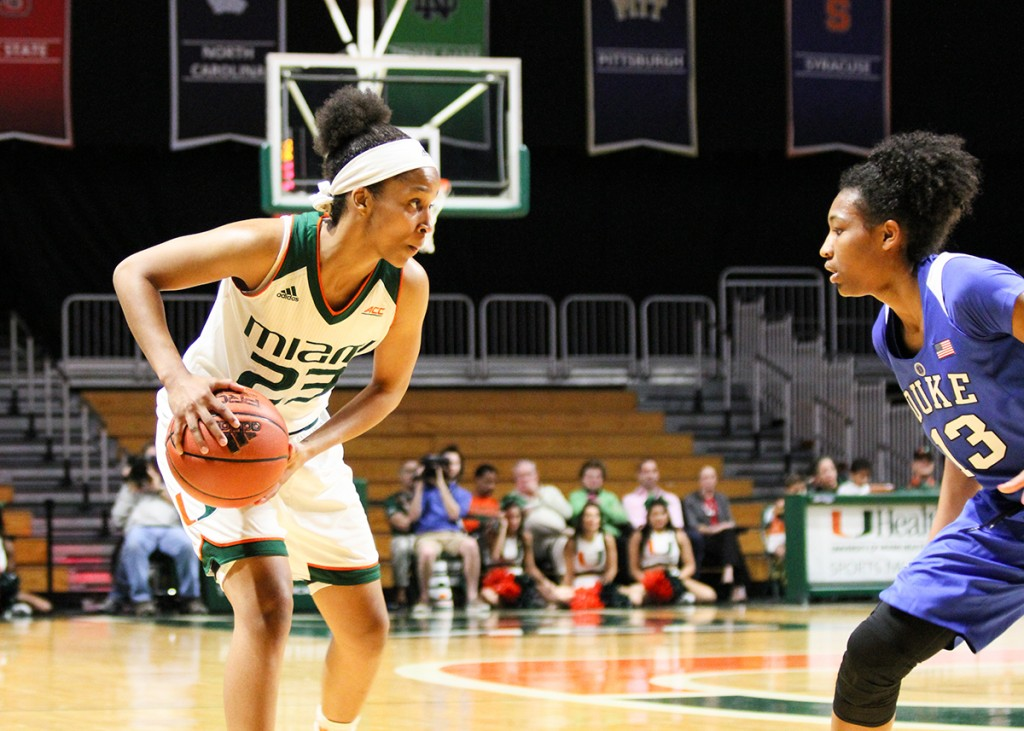 Junior guard Adrienne Motley (23) plans out her next move during the Hurricanes' win over the Blue Devils 61-53 Sunday afternoon at the BankUnited Center. This is the 20th game of Motley's career where she has scored at least 20 points. Erum Kidwai // Staff Photographer