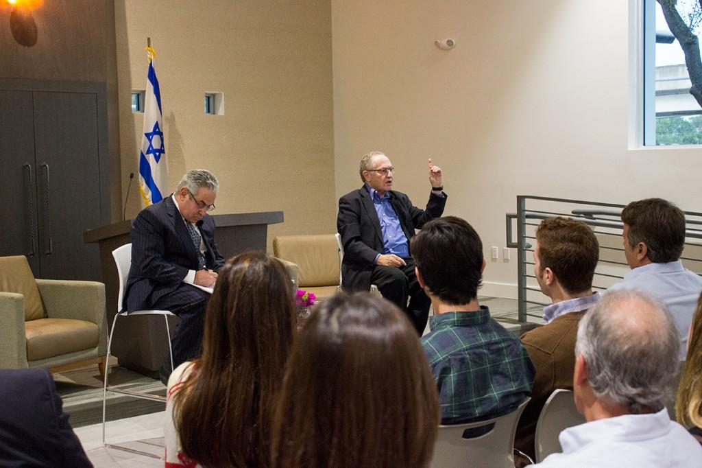 Harvard law school professor Alan Dershowitz discusses Israel affairs at Hillel